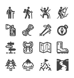 hike icon set vector image