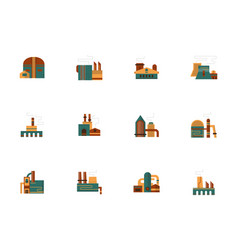 Industrial facility flat color icons set vector