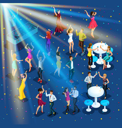 Isometry new years party 3d girls dance disco vector