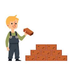 Little builder boy in construction worker uniform vector