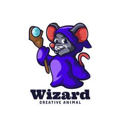 Logo wizard mouse mascot cartoon style vector