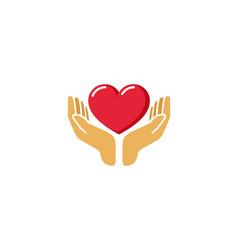 Love giving heart hands holding logo vector