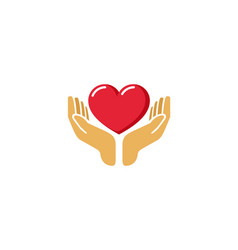 Love giving heart love hands holding logo vector