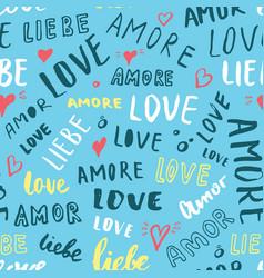 Love lettering seamless pattern written vector