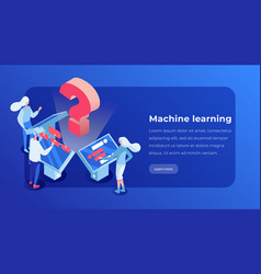 machine learning isometric landing page template vector image