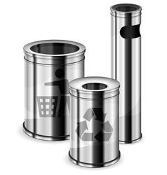 metal trash bins vector image