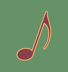 Music note sign cordovan icon and mellow vector