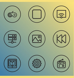 Music outline icons set collection of rewind vector