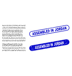 Oval collage barcode with scratched assembled in vector