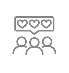 People with hearts in chat bubble line icon vector