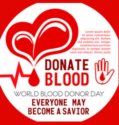poster of heart and blood donation vector image