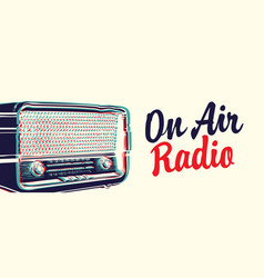 Radio banner with a microphone and inscription vector