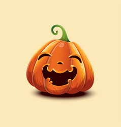 realistic halloween pumpkin happy face vector image