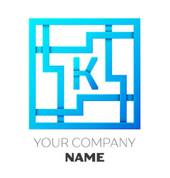 realistic letter k logo in colorful square maze vector image