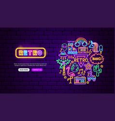 Retro style neon banner design vector