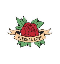 Rose tattoo template with wording eternal love vector