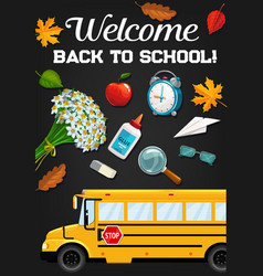 School bus and education supplies on blackboard vector