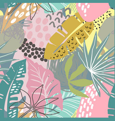 Seamless pattern with tropical plants vector