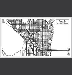 Seattle usa city map in retro style outline map vector