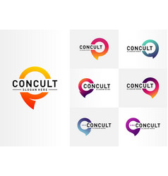 Set business consulting logo concept app chat vector