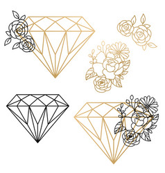 set diamond design elements and flower vector image
