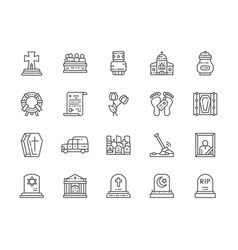 Set funeral line icons church crypt vector