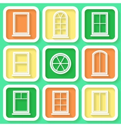 Set of 9 retro icons of windows vector image