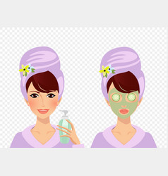 set of girl puts cream on face lady with mask and vector image