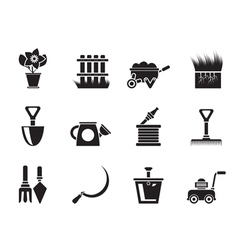 Silhouette Garden and gardening tools icons vector