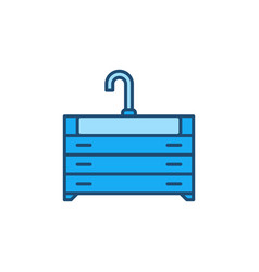 Sink with vanity unit concept blue icon vector