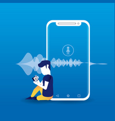 smartphone connected with wireless speaker vector image