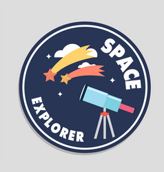 space explorer telescope shooting star circle fram vector image