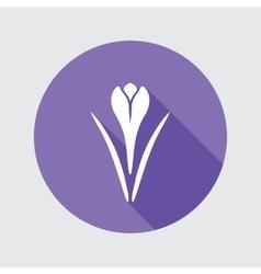 Spring flower icon Crocus Saffron herbs Floral vector