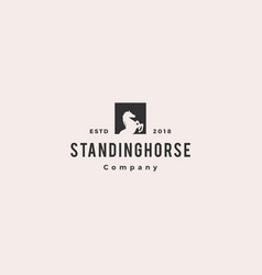 standing horse logo hipster retro vintage icon vector image