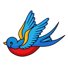 swallow bird icon freedom symbol in beautiful art vector image