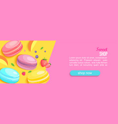 sweet shop horizontal banner with macaroons vector image
