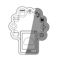 Tablet and cloud computing design vector