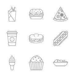 tasty fast food icon set outline style vector image