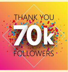 Thank you 70k followers spectrum card with vector