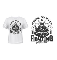 viking warrior mascot t-shirt print mockup vector image