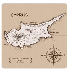 Vintage map cyprus vector