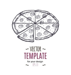 Vintage pizza drawing Hand drawn vector