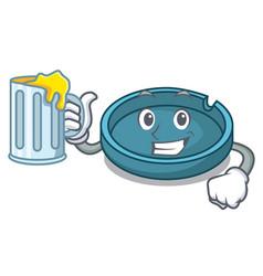 with juice ashtray mascot cartoon style vector image