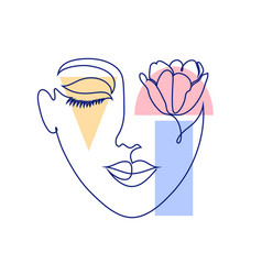 Woman face and geometric shapes vector