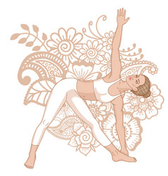 Women silhouette extended triangle yoga pose vector
