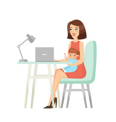working mother flat vector image