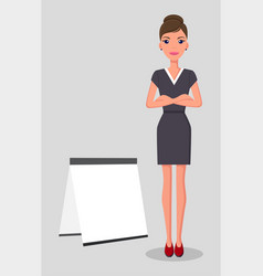 young pretty slim caucasian businesswoman stands vector image
