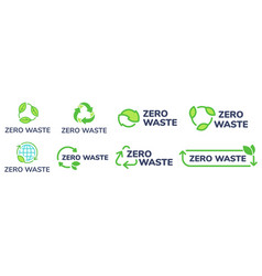 Zero waste labels green eco friendly label vector