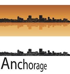 Anchorage skyline in orange background vector image