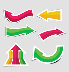 colorful arrow stickers with shadow vector image vector image